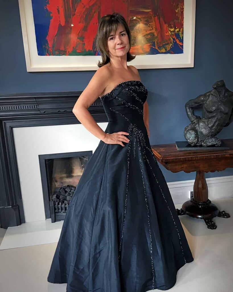 Strapless black taffeta beaded ballgown for business awards