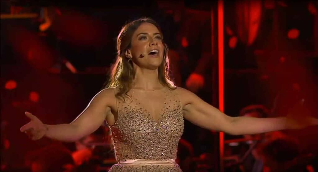Meghan Picerno wore this gold ballgown from One Night Stand for her performance of Andrew Lloyd Webber's music the Classic Brits Awards