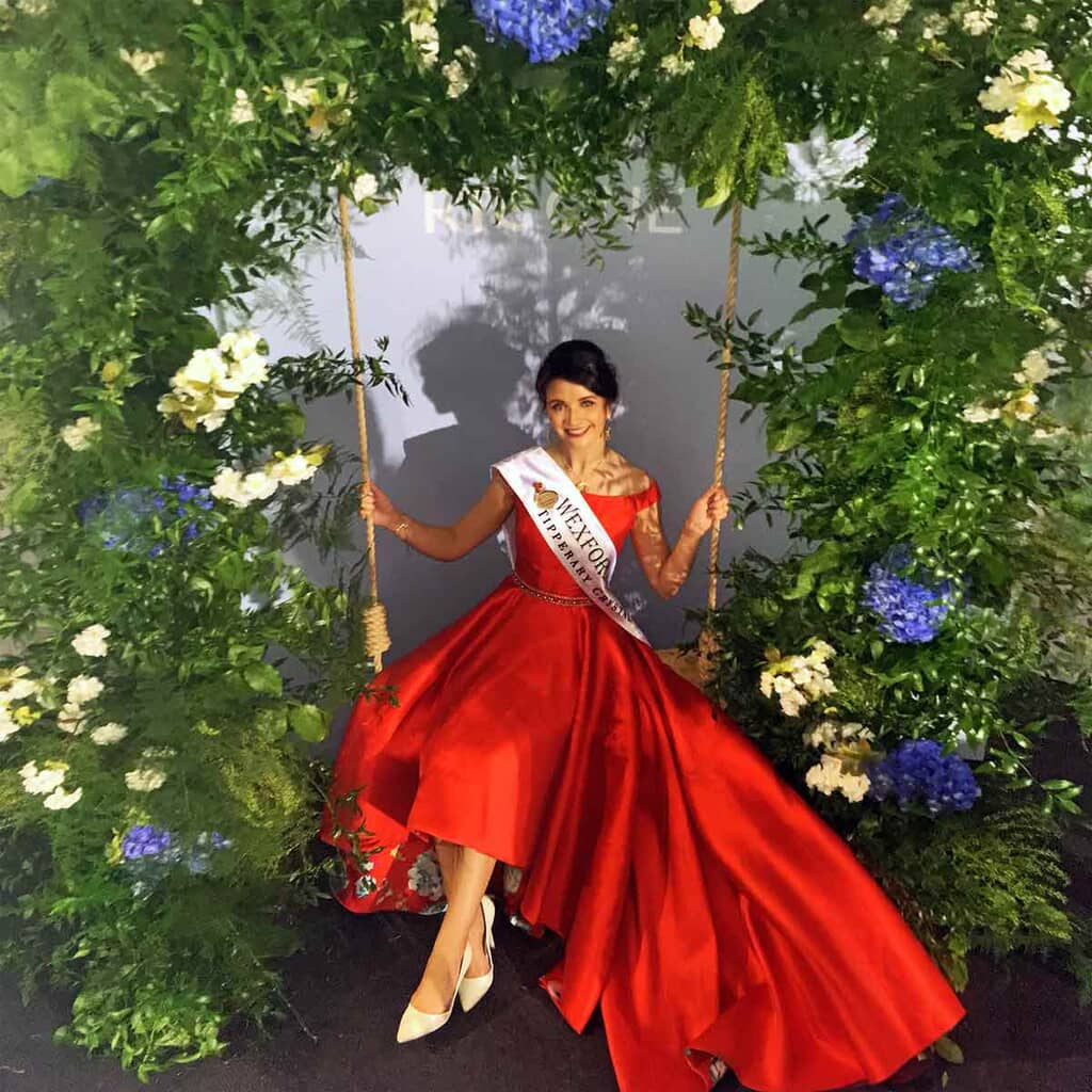 Red Off Shoulder Ball Gown for Rose of Tralee
